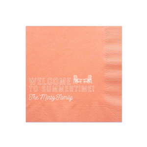 The ever-popular Light Coral Luncheon Napkin with Shiny Merlot Foil has a Adirondack Chairs graphic and is good for use in Beach/Nautical, Pairs themed parties and are a must-have for your next event—whatever the celebration!