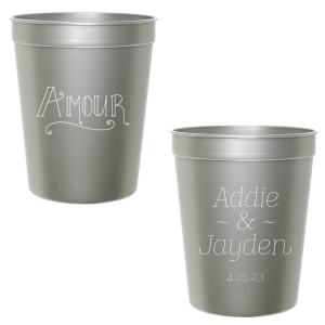 Our beautiful custom Silver 16 oz Stadium Cup with Matte White Ink Ink Color has a Amour graphic and is good for use in Words themed parties and will add that special attention to detail that cannot be overlooked.