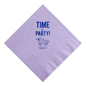 ForYourParty's elegant Lavender Cocktail Napkin with Shiny Turquoise Foil has a Unicorn graphic and is good for use in Animals, Kid Birthday, Birthday themed parties and will give your party the personalized touch every host desires.