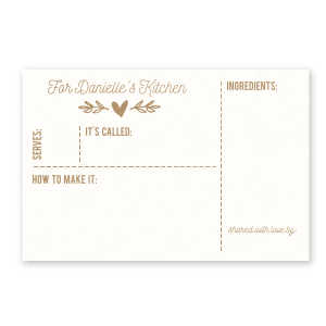 ForYourParty's elegant Strathmore White Recipe Card with Shiny Champagne Foil has a Flourish 12 graphic and can be personalized to match your party's exact theme and tempo.