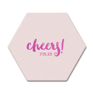 Personalize this festive coaster with your wedding date for a trendy addition to your reception bar. The cute hand lettered font is great for engagement parties, rehearsal dinners and weddings!