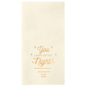 Our custom Ivory Linen Like Guest Towel with Shiny 18 Kt Gold Foil will look fabulous with your unique touch. Your guests will agree!