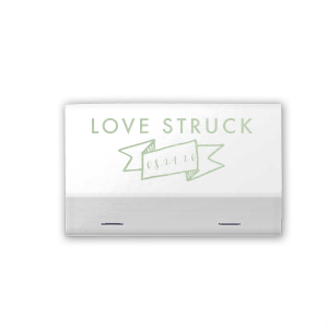 Add your date to these Shiny White matchbooks featuring our trendy Banner graphic and share with wedding guests as a personalized party favor. With every use, they'll remember just how love struck you were!