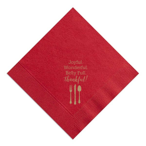 Our custom Merlot Linen Like Dinner Napkin with Shiny Rose Gold Foil has a Place Setting graphic and is good for use in Food, Thanksgiving and Holiday themed parties and couldn't be more perfect. It's time to show off your impeccable taste.