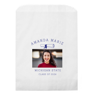 Our custom White Photo/Full Color Party Bag with Matte Cobalt Ink Digital Print Colors has a Graduation Scroll graphic and is good for use in Graduation themed parties and will add that special attention to detail that cannot be overlooked.