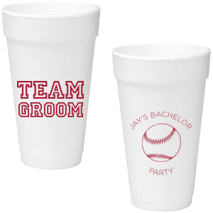 Ideal for a baseball themed bachelor party, personalize these cups for a home run bar accent! Our Baseball graphic and classic varsity sports block font will be the perfect complement to your groom's name.