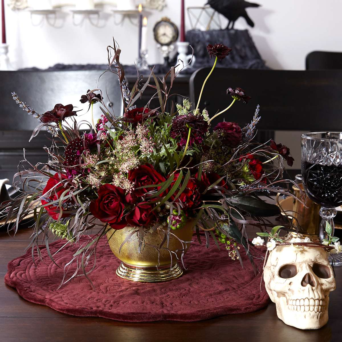 skull and flowers party centerpiece