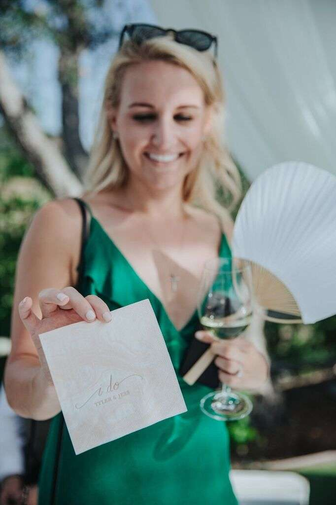 personalized patterned wedding cocktail napkins