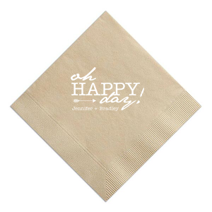 The ever-popular Sand Cocktail Napkin with Matte White Foil has an Arrow graphic and is good for use in Wedding and other celebratory parties and will impress guests like no other. Make this party unforgettable.