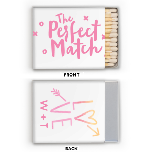 The ever-popular Photo/Full Color Matchbox with Matte Ballet Pink Ink Print Color has a Perfect Match graphic and is good for use in Watercolor Wedding themed parties and can't be beat. Showcase your style in every detail of your party's theme!