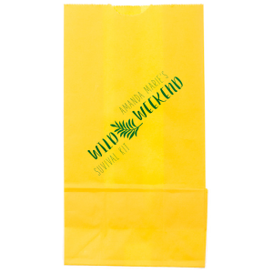 ForYourParty's elegant Yellow Goodie Bag with Shiny Kiwi / Lime Foil Color has a Leaves graphic and is good for use in Floral and Wild themed parties and can be customized to complement every last detail of your party.