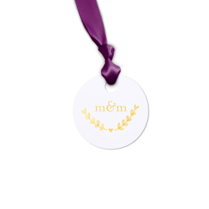 ForYourParty's elegant Natural Frost White Round Gift Tag with Shiny 18 Kt Gold Foil has a Heart Branch graphic and is good for use in Love, Wedding themed parties and can be personalized to match your party's exact theme and tempo.