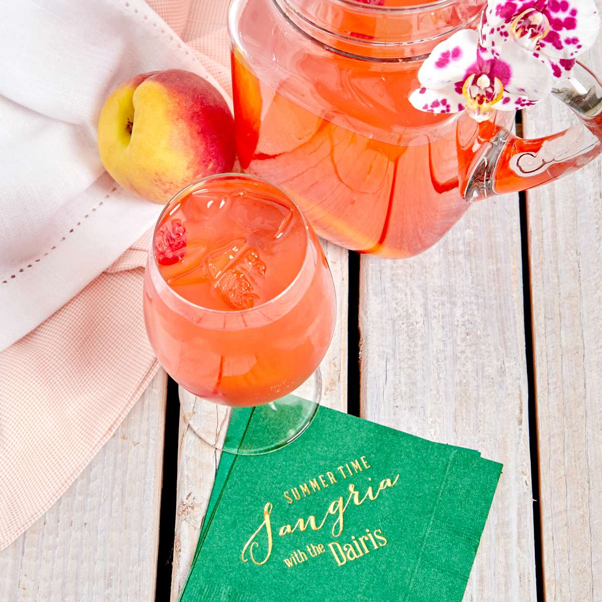 Rosè Peach Sangria cocktail recipe for summer parties