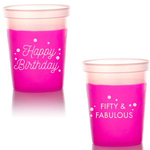 The ever-popular Hot Pink 16 oz Stadium Cup with Matte Blush Ink Cup Ink Colors can be customized to complement every last detail of your party.