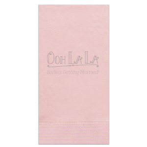ForYourParty's personalized Ballet Pink Cocktail Napkin with Matte Slate Gray Foil Color has a Ooh La La graphic and is good for use in Words themed parties and can't be beat. Showcase your style in every detail of your party's theme!