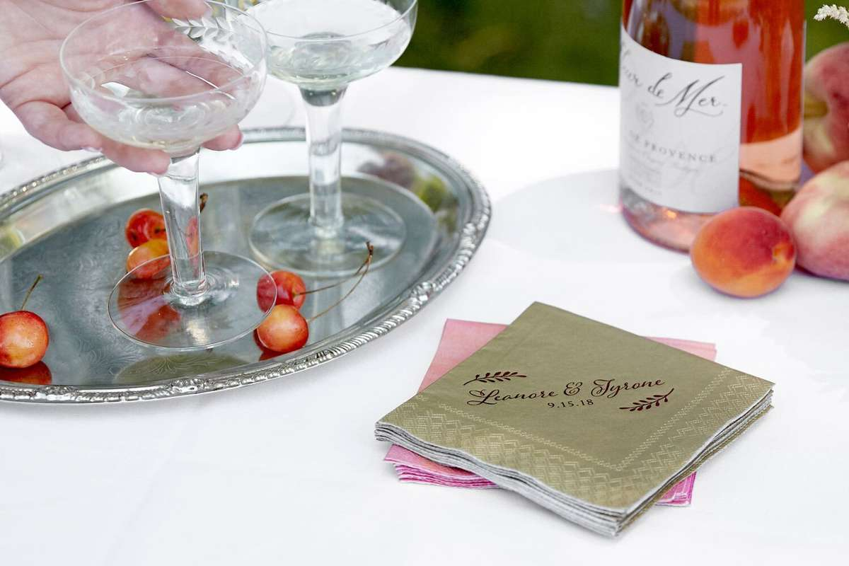 champagne shimmer wedding cocktail napkins