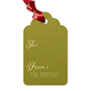 Custom Poptone Dark Olive Arch Gift Tag with Matte Ivory Foil will look fabulous with your unique touch. Your guests will agree!