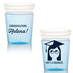 Our personalized Gold 16 oz Stadium Cup with Matte Navy Ink Cup Ink Colors has a Grad Girl graphic and is good for use in Graduation themed parties and are a must-have for your next event—whatever the celebration!
