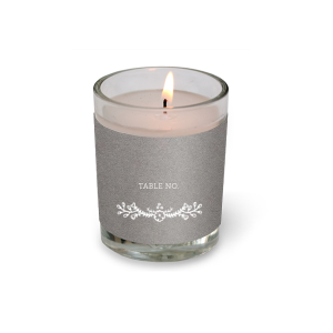 The ever-popular Natural Slate Votive Candle with Matte White Foil Color has a Marigold Vine graphic and is good for use in Accents, Floral, Bridal Shower themed parties and will make your guests swoon. Personalize your party's theme today.