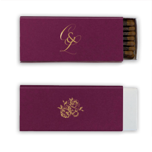 Personalized Stardream Eggplant Classic Matchbox with Satin 18 Kt. Gold Foil has a Romantic Rose Bunch graphic and is good for use in Floral and Wedding themed parties and will add that special attention to detail that cannot be overlooked.