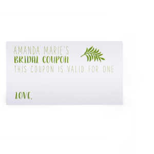 Our personalized Natural Frost White Classic Place Card with Shiny Kiwi / Lime Foil has a Leaves graphic and is good for use in Floral themed parties and can be customized to complement every last detail of your party.