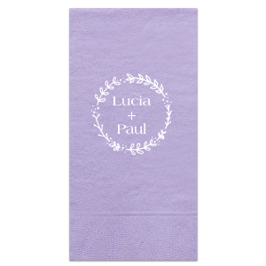 ForYourParty's elegant Lavender Guest Towel with Matte White Foil has a Leaf Frame 1 graphic and is good for use in Floral themed parties and will impress guests like no other. Make this party unforgettable.