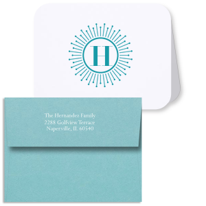 Our custom Natural Frost White Rounded Corner Note Card with Matte Teal/Peacock Foil and Matte White Foil has a sunburst frame graphic and bold initial and couldn't be more perfect for your correspondence. It's time to show off your impeccable taste.