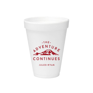 ForYourParty's chic 12 oz Styrofoam Cup with Matte Red Berry Ink Cup Ink Colors has a Mountain graphic and is good for use in Travel, Outdoors, Sports, Adventure and wedding themed parties and couldn't be more perfect. It's time to show off your impeccable taste.