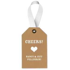 Our custom Natural Kraft/Latte Wine Gift Tag with Matte White Foil has a Heart Solid graphic and is good for use in Love, Wedding themed parties and will impress guests like no other. Make this party unforgettable.