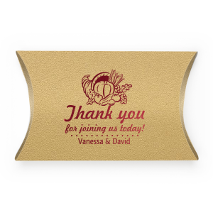 Personalized Stardream Champagne Rectangle Box with Shiny Merlot Foil has a Thanksgiving graphic and is good for use in Holiday themed parties and will give your party the personalized touch every host desires.