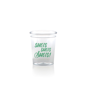 ForYourParty's elegant Matte Leaf Ink Plastic Shot Glass with Matte Leaf Ink Cup Ink Colors are a must-have for your next event—whatever the celebration!