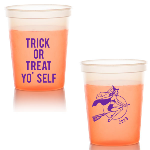 ForYourParty's elegant Orange 16 oz Stadium Mood Cup with Matte Grape Soda Ink Cup Ink Colors has a Sexy Witch graphic and is good for use in Halloween themed parties and can't be beat. Showcase your style in every detail of your party's theme!