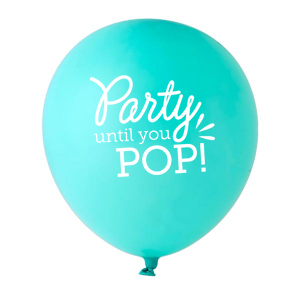 Personalized Tiffany Designer Balloon with White Ink Ink Color has a Party until you Pop graphic and is good for use in Words, Bridal Shower, Baby Shower themed parties and can't be beat. Showcase your style in every detail of your party's theme!