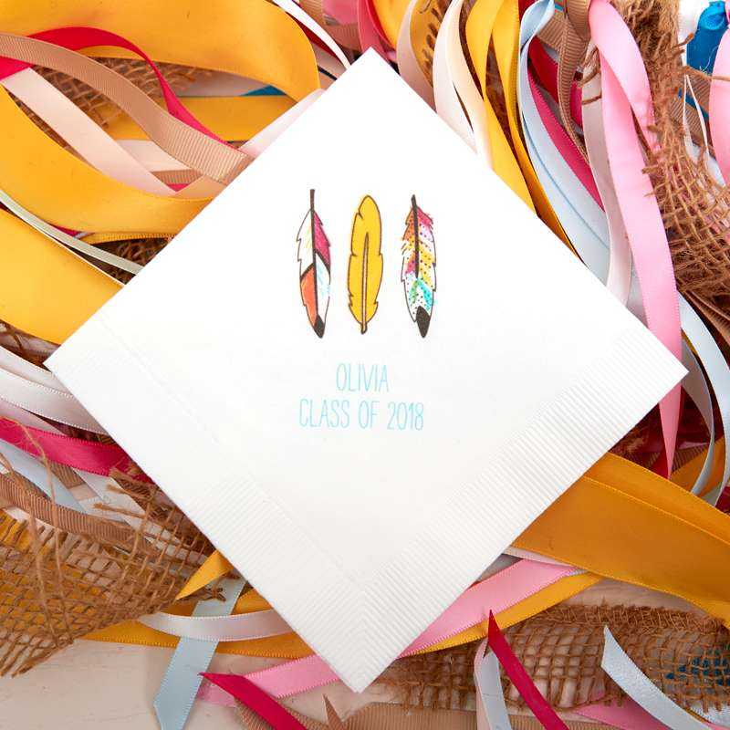 full color custom printed cocktail napkins for boho graduation party theme