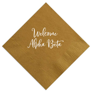 Our beautiful custom Mustard Gold Cocktail Napkin with Matte White Foil can be personalized to match your party's exact theme and tempo.