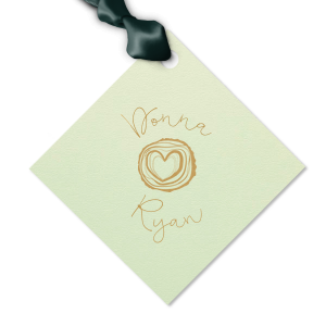 Send guests home from your wedding with a thank you treat tied with this custom gift tag. Pair the happy couple's names with our Tree Heart graphic for a seamless detail in your forest or greenery theme. Fitting for an engagement party, couple's shower or wedding reception.