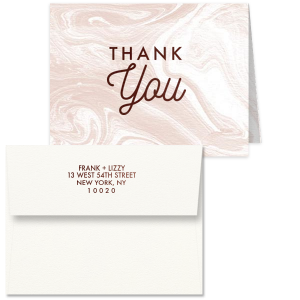 Our custom Strathmore White Classic Note Card with Envelope with Shiny Turquoise Foil has a Thank You graphic and is good for use in Wedding, Birthday, Mitzvah parties and more. This simple yet elegant design will make your guests swoon. Personalize your party's theme today.