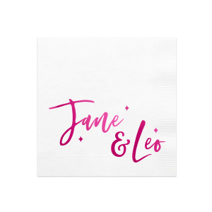 Our personalized White Cocktail Napkins with Bleed with Shiny Fuchsia Foil has a Sparkles 3 graphic and is good for use in Wedding themed parties and will make your guests swoon. Personalize your party's theme today.