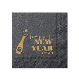 Our beautiful custom Soft Black Cocktail Napkin with Satin 18 Kt. Gold Foil has a Bubbly graphic and is good for use in Drinks and New Year's Eve themed parties and will look fabulous with your unique touch. Your guests will agree!