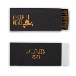 ForYourParty's personalized Natural Black Cigar Matchbox with Shiny Copper Foil has a Skull & Crossbones graphic and is good for use in Halloween themed parties and can't be beat. Showcase your style in every detail of your party's theme!