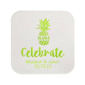 "Aloha Pineapple - White - Square Coasters - Personalized - Set of 75 - 4 x 4"""" by ForYourParty.com"