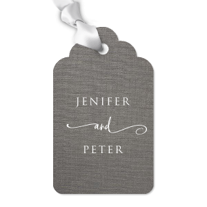 ForYourParty's elegant Linen Slate Diamond Gift Tag with Matte White Foil will look fabulous with your unique touch. Your guests will agree!