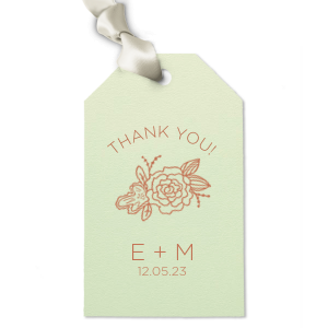 Tie party favors with this cute custom gift tag for a personalized thank you! Combined with your initials and wedding date, the Peony graphic, Mint paper and Copper foil will be excellent finishing touches to your greenery themed bridal shower, engagement party or wedding.