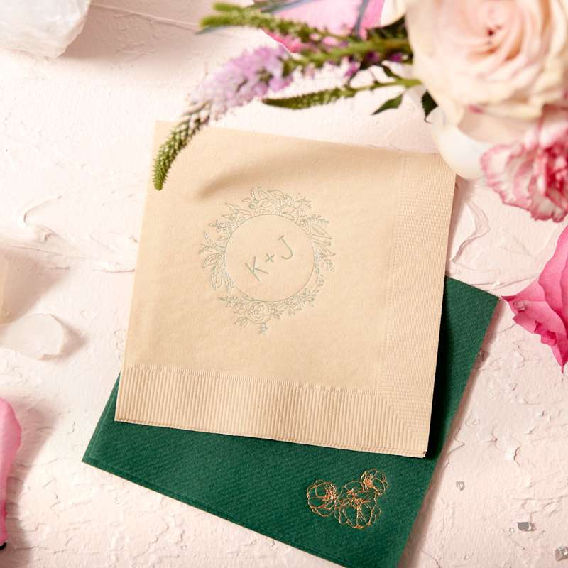 custom designed monogrammed cocktail napkins