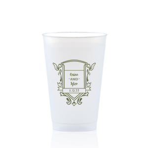 ForYourParty's personalized Matte Army Green Ink 12 oz Frost Flex Cup with Matte Army Green Ink Cup Ink Colors has a Crest Regal graphic and is good for use in Floral, Wedding themed parties and can't be beat. Showcase your style in every detail of your party's theme!