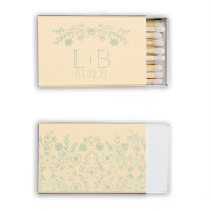 The ever-popular Natural Ivory Classic Matchbox with Shiny Green Tea Foil has a Rose Laurel graphic and a Garden Pattern graphic and is good for use in Floral, Full Bleed, Organic themed parties and will make your guests swoon. Personalize your party's theme today.