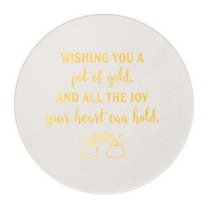 Our beautiful custom Eggshell Square Coaster with Shiny 18 Kt Gold Foil has a Rainbow graphic and is good for use in St. Patricks Day, Baby Shower themed parties and will look fabulous with your unique touch. Your guests will agree!