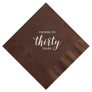 ForYourParty's elegant Brownie Dinner Napkin with Shiny 18 Kt Gold Foil will make your Birthday or Anniversary guests swoon. Personalize your party's theme today.