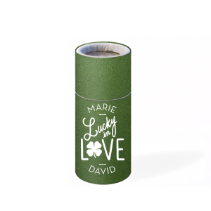 Our personalized Stardream Leaf Barrel Matchbox with Matte White Foil has a Lucky In Love graphic and is good for use in Irish and Wedding themed parties and can be personalized to match your party's exact theme and tempo.