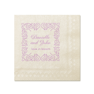 ForYourParty's elegant Ivory Cocktail Napkin with Shiny Lavender Foil has a Linear Floral Frame graphic and is good for use in Frames, Floral, Trendy themed parties and couldn't be more perfect. It's time to show off your impeccable taste.